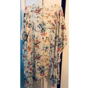 Women's 4X Floral Kimono Cardigan